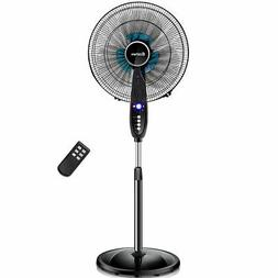 16''Adjustable Oscillating Pedestal Fan Stand Floor 3 Sp
