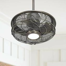 "17"" Casa Vestige Antique Bronze Cage LED Ceiling Fan"