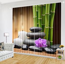 LB Spa Window Curtains for Living Room Bedroom,Orchid Bamboo