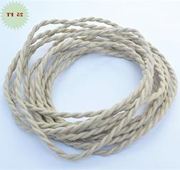 Fortunewill 25 ft 2-wire Beige Twisted Cloth Covered Wire Cl