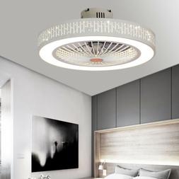 22'' Ceiling Fan Semi Flush Mount Invisible 7 Blades 3 Speed