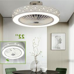 22'' Round Ceiling Fan Light Remote Control Dimmable LED Lam