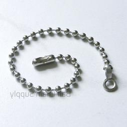 """25 Nickel Plated 6"""" Ball Chain Fan & Lamp Pull w/ End Ring C"""