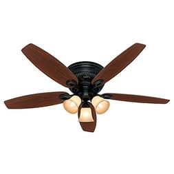 "Hunter 28785 52"" BASQUE BLACK CEILING FAN WITH LIGHT KIT"