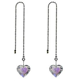 2pcs Crystal Heart Prisms Pendant Ceiling Fan Pull Chain Ext