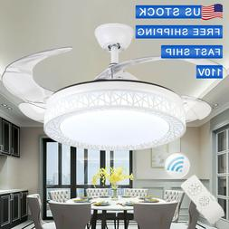 "42"" invisiable Ceiling Fan Lamp LED Kit Retractable Blades C"