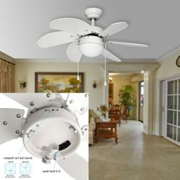 30 in. White Ceiling Fan With Light Kit 6 Blades, Reversible