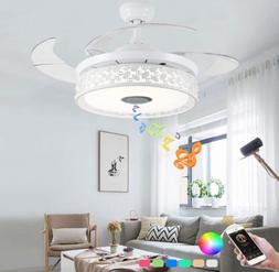 """36/42"""" Bluetooth Invisible Ceiling Fan Light LED Music Playe"""