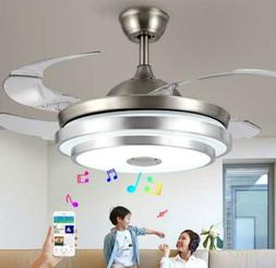 """36""""/42"""" Bluetooth Invisible Fan LED Ceiling Light Music Play"""