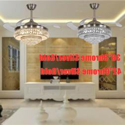 "36/42"" Modern Crystal Ceiling Fan Light LED Chandelier Light"