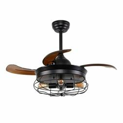 "36"" Ceiling Fan with Lights Industrial Chandelier Ceiling Fa"