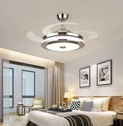"""36"""" Invisible Ceiling Fan Light Dining Room Chandelier LED P"""