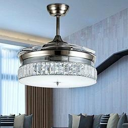 Crystal Invisible Silver Ceiling Fan Light Dining Room Muted