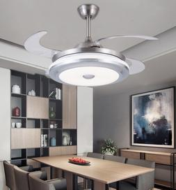 """36"""" Modern Retractable 4Blade Ceiling Fan Light LED Dimmable"""