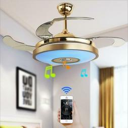 "36"" Smart Bluetooth Ceiling Fan Pendant Light Remote Led Cha"