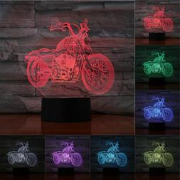 3D Night Light Motorcycle 3D Table Lamp Flashlight <font><b>