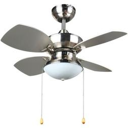 4 Blades 28-inch Ceiling Fan in Brushed Nickel for Lighting