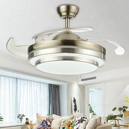 """42""""/36""""LED Invisible Ceiling Fan With Light Chandelier Lamp"""