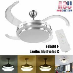 "42"" 4 Blade Invisible LED Ceiling Fan Light W/Remote Dimming"