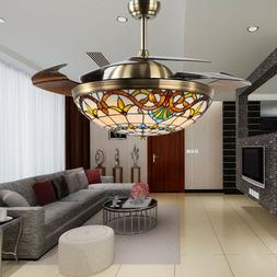 "42"" Ceiling Fan w/ Light & Remote Control Vintage Chandelier"
