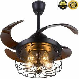 """42"""" Ceiling Fan with Light Industrial Retractable Blades Vin"""