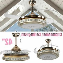 """42"""" Ceiling Fan with Light Retractable Blades Chandelier Dim"""