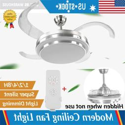 """42"""" Chandelier LED Ceiling Fan Dimmable 4 Blade Retractable"""