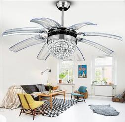 "42"" Crystal Ceiling Fan Light 8 Retractable Take off Acrylic"
