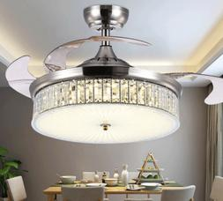 """42"""" Crystal Ceiling Fan w/Light Color-Changing and Remote In"""