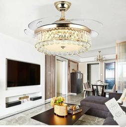 """42"""" Chandelier Ceiling Fan Light Invisible Blade Crystal LED"""