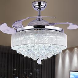 "42"" Crystal LED Remote Control Ceiling Fan Lamp Chandelier P"