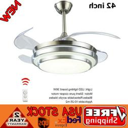"42"" Dimmable Ceiling Fan Light Chandelier with LED Retractab"