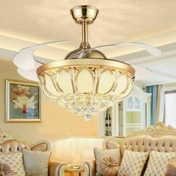 """42"""" Gold LED Invisible Ceiling Fan Light Modern Crystal Chan"""