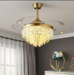"""42"""" Gold Luxury Crystal Invisible Ceiling Fan Lamp LED Remot"""