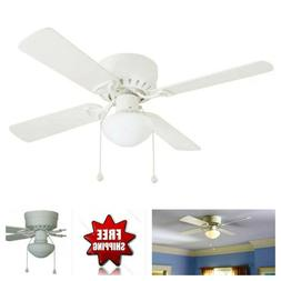 Indoor Ceiling Fan with Light 42 inches White Flush Mount  L