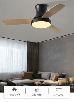 42-in Wood Grain LED Indoor Flush Mount Ceiling Fan with Kit