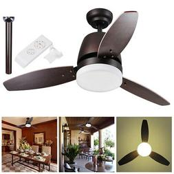 Bronze Ceiling Fan 3 Maple Blade w/ Dimmable LED Light & Rem
