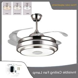 """42"""" Invisible Ceiling Fan Lamp Dimmable LED Chandelier Light"""