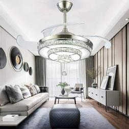 """42"""" Invisible Crystal Fan Light Lamp Living Room Ceiling Fix"""