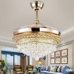 "42"" K9 Crystal Invisible Ceiling Fans With Light LED Chandel"