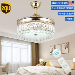 """42""""Crystal Light LED Ceiling Fan Invisible Blade Chandelier"""