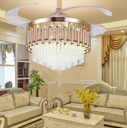 """42"""" Luxury Crystal Invisible Ceiling Fan Lamp Remote Control"""