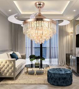 """42"""" Luxury Invisible LED Ceiling Fan Lamp Crystal Gold Chand"""