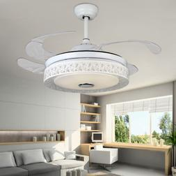 "42"" Modern Ceiling Fan Light Chandelier Bluetooth Speaker Co"