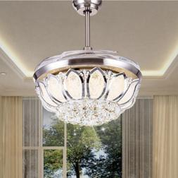 """42"""" Modern Silver Crystal Invisible Ceiling Fan Light Lamp L"""