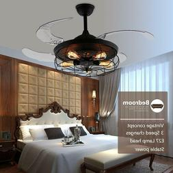 """42"""" ndustrial Ceiling Fan Light Retractable Blade Lamp Chand"""