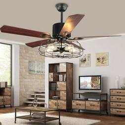 "42"" Oiled Rubbed Bronze Indoor Ceiling Fan With 5 Lights Kit"