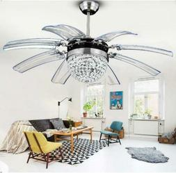 """42"""" Remote Control Crystal Ceiling Fan Light Take Off Invisi"""