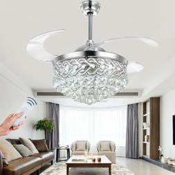 """42""""Remote Retractable Blade LED Light Chandelier Silver Crys"""
