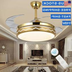 """42"""" Retractable Ceiling Fan Light Lamp Remote Control Dimmab"""